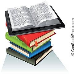 livro, pc tabela, pilha