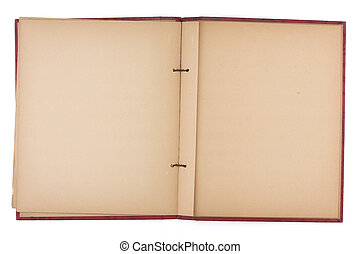 livro pedaço, antigas, páginas, em branco