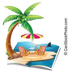 livro, praia
