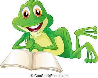 livro, rã, leitura, mentindo, enquanto