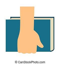 livro, segurando mão