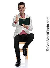 livro, sinal, sentada, leitura, homem, ok, faz