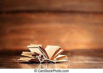 livro, tecla, antigas, tabela madeira