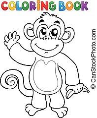 livro, tema, coloração, 3, macaco