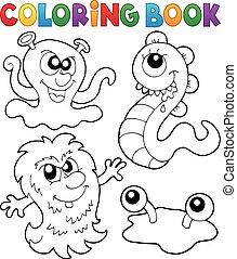 livro, tema, coloração, 3, monstro