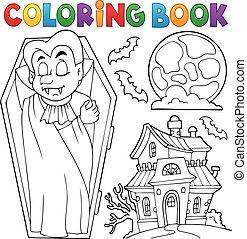 livro, tema, coloração, 3, vampiro