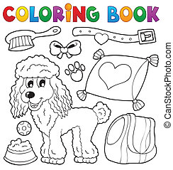 livro, tema, coloração, 4, cão