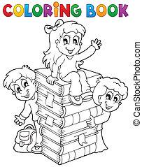 livro, tema, coloração, 4, crianças