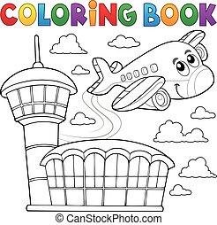 livro, tema, coloração, avião, 3
