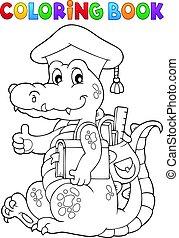 livro, tema, coloração, escola, crocodilo