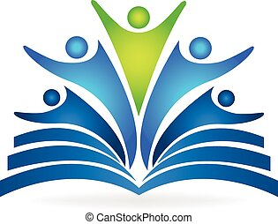 livro, trabalho equipe, educacional, logotipo