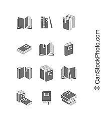 livros, ícone, jogo, para, biblioteca, desenho