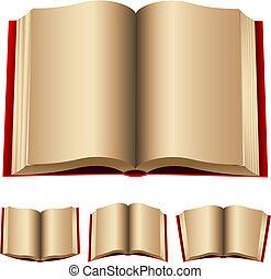 livros, abertos, vermelho
