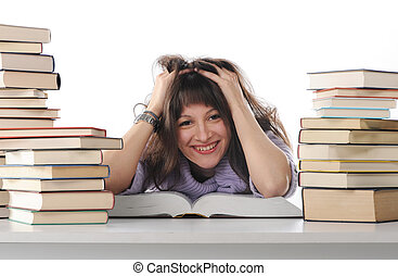 livros, aluno feminino