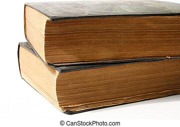 livros, antigas, dois, resistido