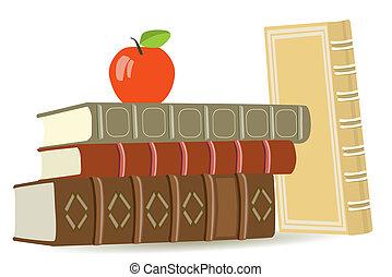 livros, antigas, maçã, vermelho