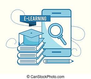 livros, boné, smartphone, tecnologia, graduação