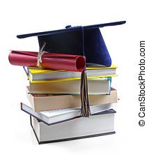 livros, chapéu, diploma, graduação, pilha