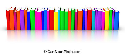 livros, colorido, fila