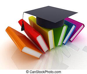 livros, coloridos, graduação, chapéu