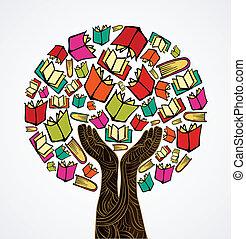 livros, conceito, árvore, desenho