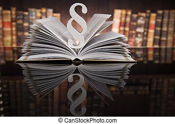 livros, conceito, parágrafo, sala audiências, justiça, lei