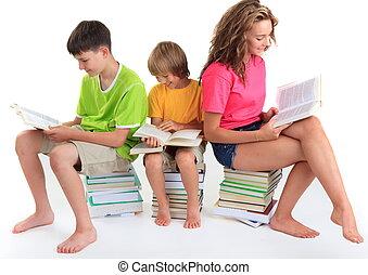 livros, crianças, sentando