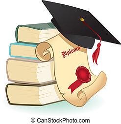 livros, diploma, placas, morteiro