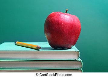 livros, e, maçã