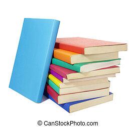 livros, educação, pilha, coloridos