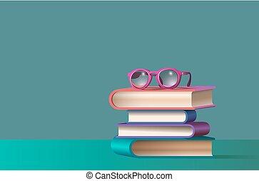livros, empilhado, óculos