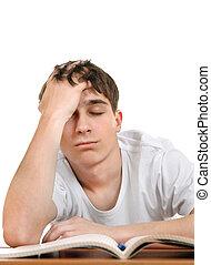 livros, estudante, cansadas