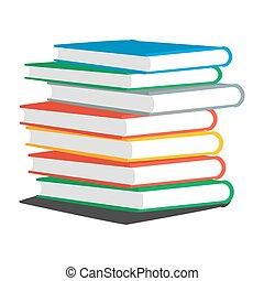 livros, ilustração, pilha, vetorial, revistas, ou