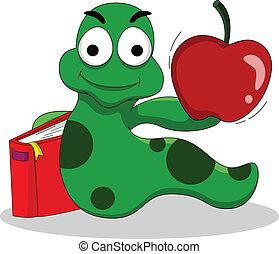 livros, lagartas, maçã