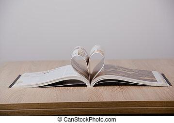 livros, ligado, madeira, desk.