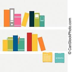 livros, ligado, prateleira, com, notepapers., vetorial,...