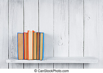 livros, ligado, um, madeira, shelf.