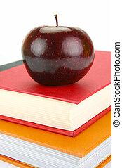 livros, maçã