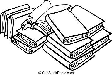 livros, montão, caricatura, ilustração