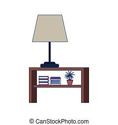 livros, nightstand, desenho, apartamento, lâmpada