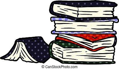 livros, pilha, caricatura