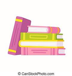 livros, pilha, ilustração