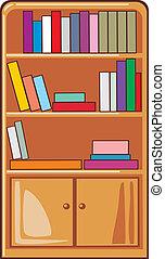 livros, prateleiras, madeira
