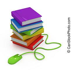 livros, rato computador