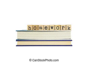 livros, selos, madeira, palavra, dever casa