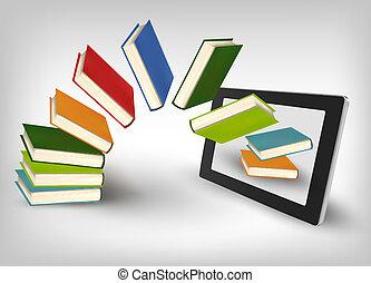 livros, tabuleta, voando