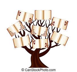 livros, vetorial, árvore, ilustração