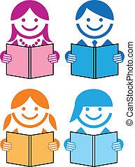 livros, vetorial, pessoas