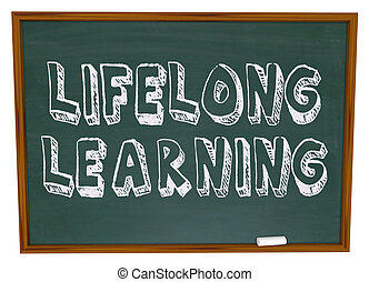 livslang, lærdom, -, chalkboard