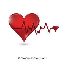 livslinjen, hjärta, design, illustration